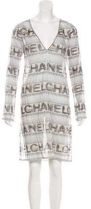 Chanel Striped Logo Print Dress