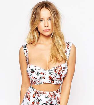 Asos Design DESIGN FULLER BUST Exclusive Juliet Floral Print 50s Longline Bikini Top DD-G