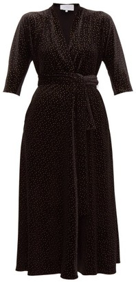 Luisa Beccaria Wrap Effect Polka Dot Print Velvet Midi Dress - Womens - Black Gold