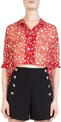 The Kooples Rosa Rosa Cropped Sheer Floral-Print Shirt