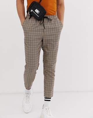 New Look pull on trousers in brown check