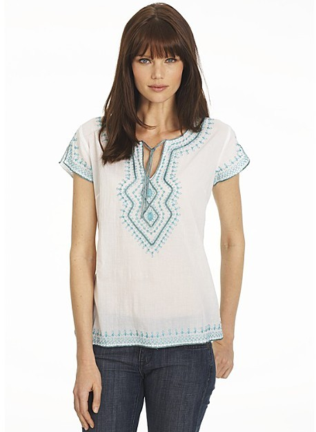 Lucky Brand Jeans Misses' Cap Sleeve Tunic with Embroidery