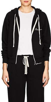 RE/DONE Women's Embroidered Cotton Terry Hoodie - Black