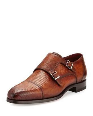 Magnanni Lizard Double-Monk Shoes, Saddle