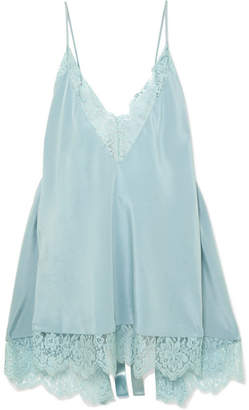 Stella McCartney Open-back Lace-trimmed Silk Camisole - Blue