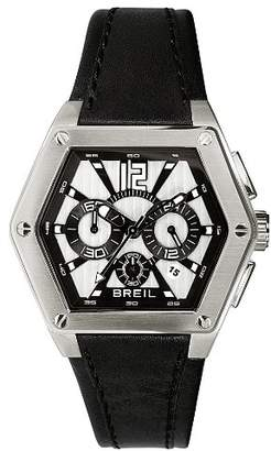 Breil Milano Men's Mark Quartz Watch TW0673 with Silver/Black Chronograph Dial, Date, Stainless Steel Case, Black Leather Strap