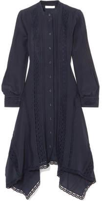 Chloé Lace-trimmed Silk Crepe De Chine Midi Dress - Navy
