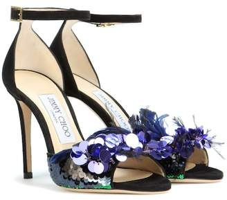 Jimmy Choo Annie 100 embellished suede sandals
