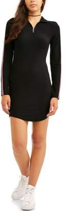 Eye Candy Juniors' Zippered Mock Neck Dress with Striped Sleeves
