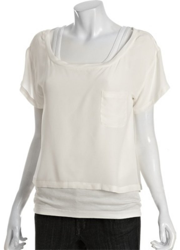 Joie white cropped silk pocket blouse