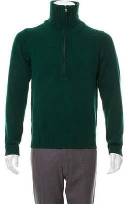Prada Sport Leather-Trimmed Wool Sweater