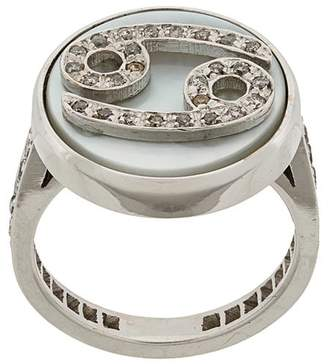 Carolina Bucci 18kt gold and grey diamond Lucky Cancer Zodiac ring