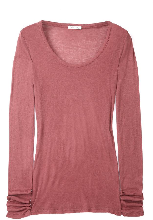 American Vintage Garnet Massachussetts Long Sleeve Round Neck T-shirt