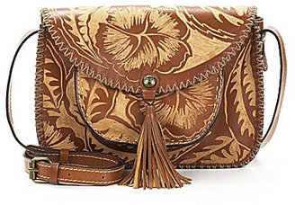 Patricia Nash Cuban Carved Collection Beaumont Tasseled Saddle Bag $199 thestylecure.com