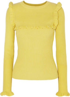 See by Chloe Ruffled Ribbed Alpaca-blend Sweater - Chartreuse
