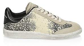 Isabel Marant Women's Bryce Python Embossed Leather& Suede Sneakers