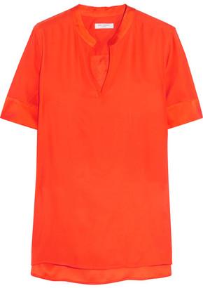 Equipment - Hartley Washed-silk Top - Orange $200 thestylecure.com