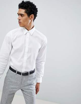 Benetton Slim Fit Shirt with Stretch in White