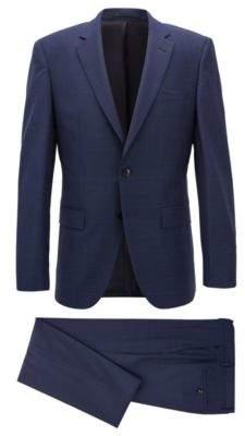 BOSS Hugo Plaid Wool Suit, Slim Fit T-Harvers/Glover 38S Dark Blue