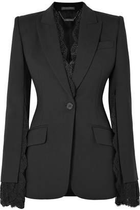 Alexander McQueen Lace-trimmed Wool-blend Crepe Blazer