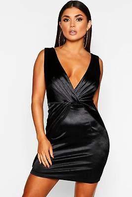 boohoo NEW Womens Twist Front Stretch Satin Bodycon Dress