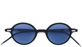 Thom Browne Eyewear Round Black Sunglasses With Red, White And Blue Frame