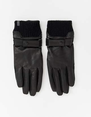 Esprit smart leather gloves in black