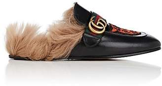 Gucci Men's Princetown Embroidered Leather Slippers - Black