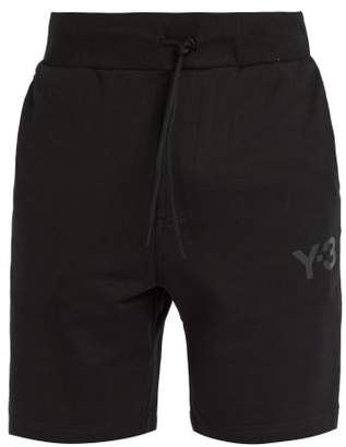 Y-3 - Logo Print Drawstring Waist Cotton Shorts - Mens - Black