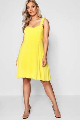boohoo Plus Ruffle Strap Skater Dress