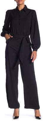 Max Studio Long Sleeve Wide Leg Jumpsuit