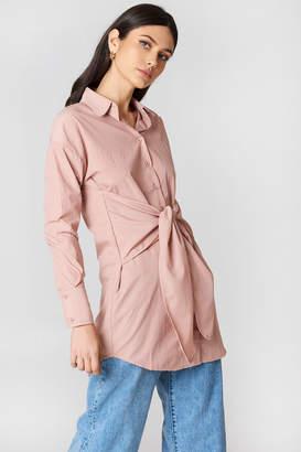 boohoo Tie Front Shirt Dress