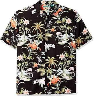 Cubavera Men's Short Sleeve 100% Rayon Point-Collar Tropical Floral Print Shirt