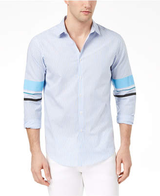 INC International Concepts I.n.c. Men's Striped Track Sleeve Shirt, Created for Macy's