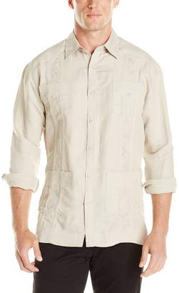 Cubavera Cuba Vera Men's Long Sleeve Embroidered Guayabera Shirt