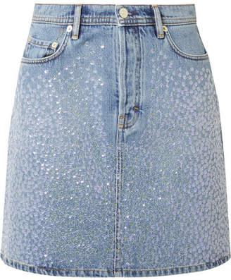 Acne Studios Sharmayne Sequined Denim Mini Skirt - Blue