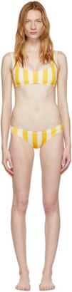 Off-White Solid And Striped Solid and Striped Yellow and The Elle Bikini