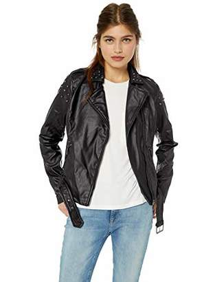 Yoki Women's Faux Leather Moto Jacket with Studs