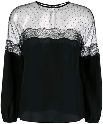 RED Valentino sheer long-sleeve blouse