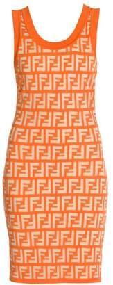 Fendi FF Sheer Logo Sleeveless Knit Dress