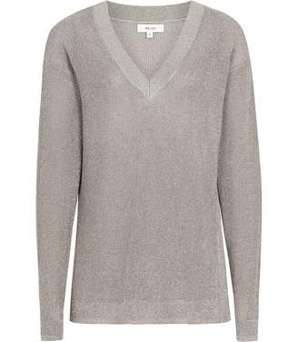 Reiss Leanna - Metallic V-neck Jumper in Silver Metallic