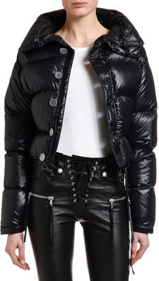 Unravel Shiny High-Neck Down Puffer Jacket