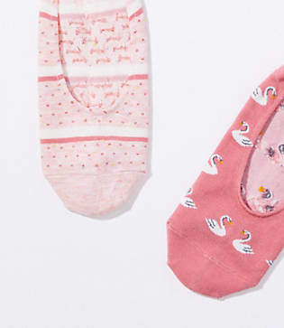 LOFT Swan & Stripe No Show Sock Set