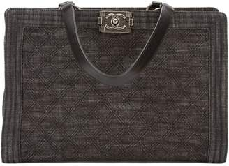 Chanel Dark Blue Quilted Denim and Leather Boy Tote (3560004)