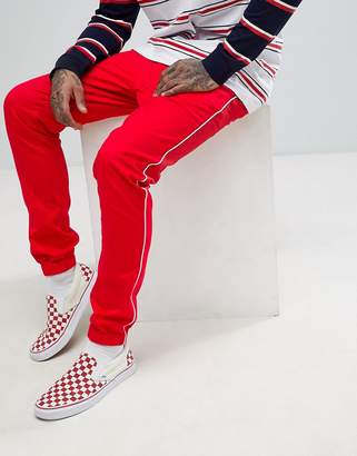 Asos Skinny Joggers In Red With White Piping