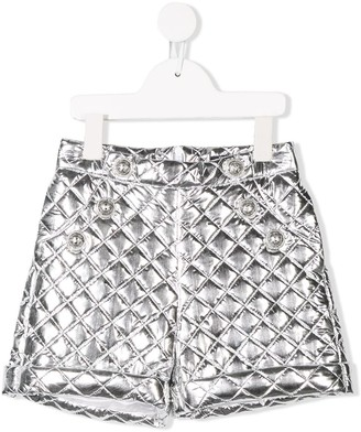Balmain Kids quilted button front shorts