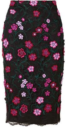 Lela Rose Appliquéd Embroidered Lace Skirt - Black