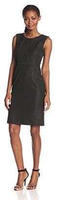 Nine West Women's Sleeveless Scoop Neck Sheath Dress, Black/Gold, 6
