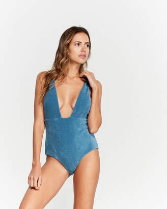 Mara Hoffman Audrey Plunging Terry One-Piece Swimsuit