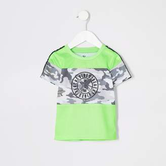River Island Mens Mini boys Neon green camo T-shirt